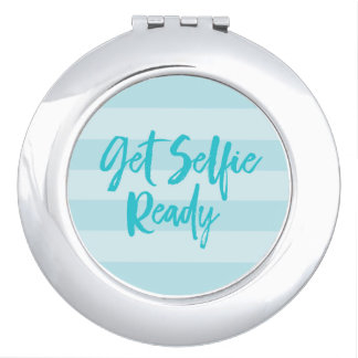 Get Selfie Ready Blue Stripes Modern Preppy Mirrors For Makeup