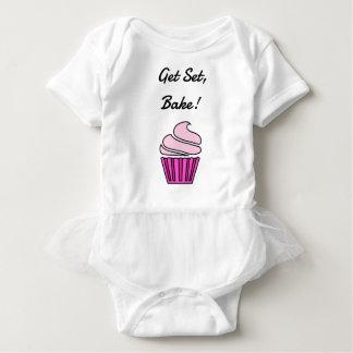 Get set bake pink cupcake baby bodysuit