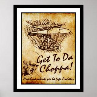 Get To Da Choppa Leonardo da Vinci Helicopter Posters