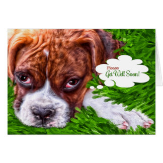 Get Well Card Boxer Puppy Painting