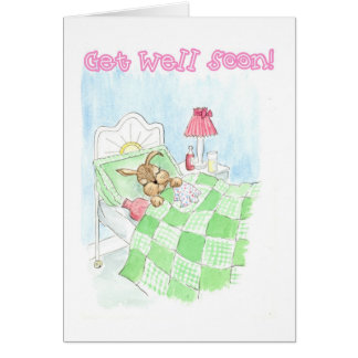 Get Well Card - Sick Bunny Rabbit