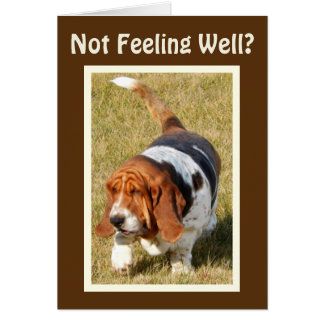 Get Well Card w/Cute Basset Hound in Bed