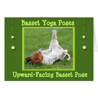 Get Well Card w/Funny Basset Hound Yoga Poses