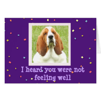 Get Well Card with Basset Hound and Cupcakes
