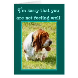 """Get Well"" Card with Cute, but Sad Basset Hound"