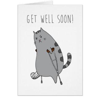 Get Well Feel Better Card: Broken Bone in a Cast Card