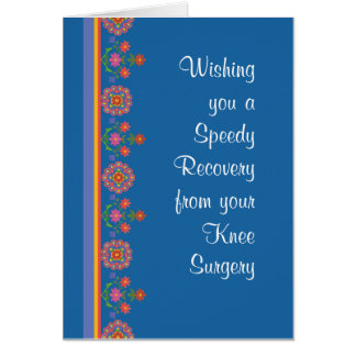 Get Well from Knee Surgery Rangoli Border Blue Card