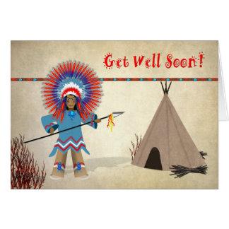 Get Well - Kids - Native Indian Fun Card