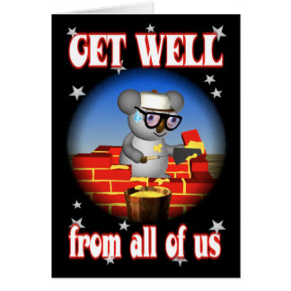 Get Well Koala Bricklayer Greeting Card