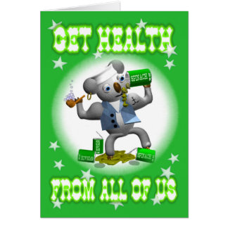 Get Well Koala Spinach Eating Greeting Card