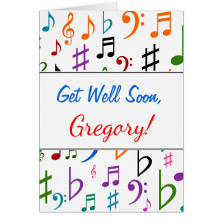 Get Well + Many Colorful Music Notes and Symbols