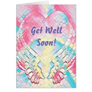 Get Well Soon Angel Wings Heart Card