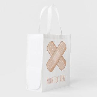 Get Well Soon Bandaid (Nurse Care Crossed Plaster) Reusable Grocery Bag