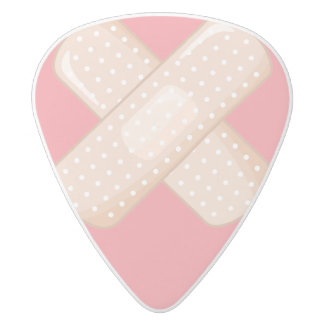 Get Well Soon Bandaid (Nurse Care Crossed Plaster) White Delrin Guitar Pick