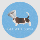 Get Well Soon - Basset Hound Male Classic Round Sticker