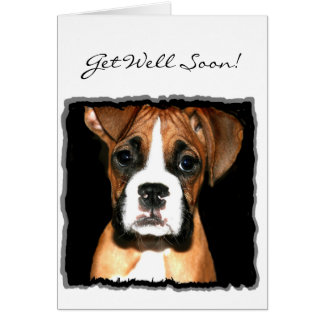 Get well soon Boxer Puppy greeting card