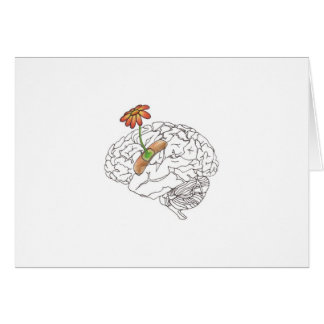 get well soon, brain greeting card