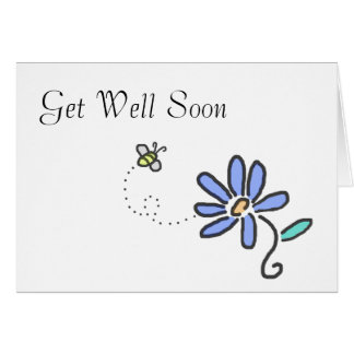 Get Well Soon - Bumble Bee and Blue Flower Card