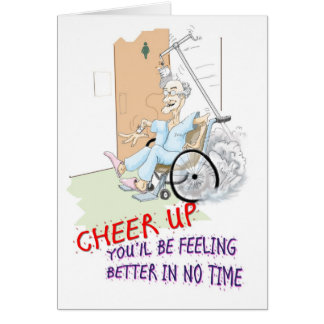 Get Well soon card. Funny Grandpa in wheelchair Card
