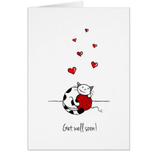 """Get well soon!"" Cat Greeting Card - Blank inside"