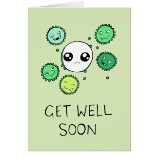 Get Well Soon Cute Virus and Cell Drawing Card