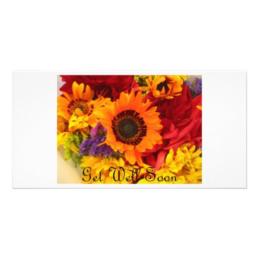 Get Well Soon - Fall Flowers Customized Photo Card