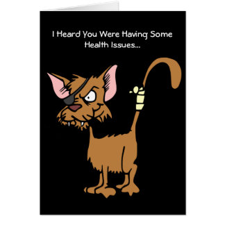 Get Well Soon from Cartoon Injured Cat Greeting Card