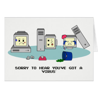 'Get Well Soon' Geeky Computer Card, PC Virus Card