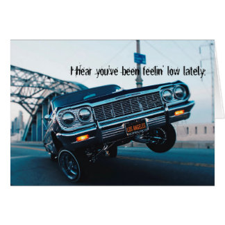 Get well soon lowrider classic car card