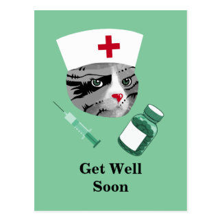 Get Well Soon Nurse Cat Postcard