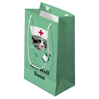 Get Well Soon Nurse Cat Small Gift Bag
