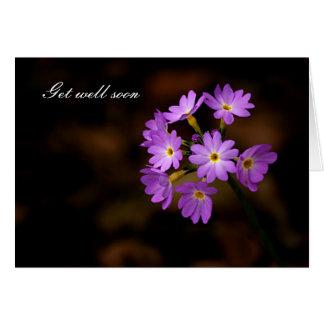 Get well soon, purple flower card