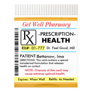 Get Well Soon RX for Health Postcard