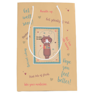 Get Well Soon Sniffle Sniffle Bear Medium Gift Bag
