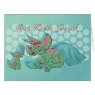 Get Well Soon Triceratops Big Card