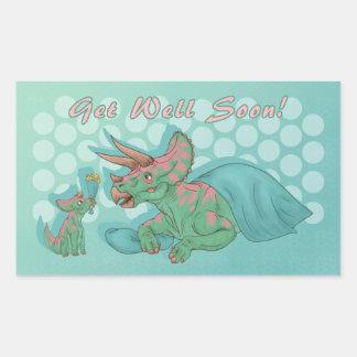 Get Well Soon Triceratops Sticker