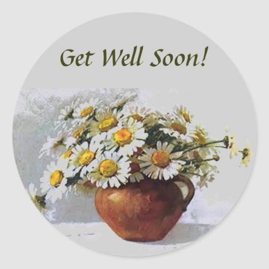 Get Well Soon Vintage Daisies Sticker