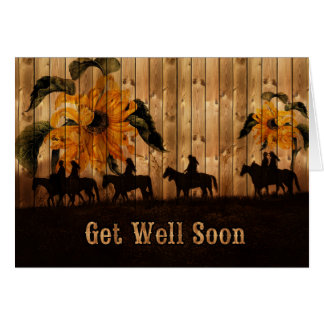 Get Well Western Sunflowers and Cowgirls Card