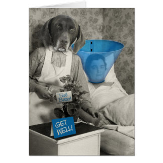 Get Well with Funny Vintage Photo of a Dog Nurse Card