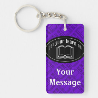 Get Your Learn On School Book Double-Sided Rectangular Acrylic Keychain