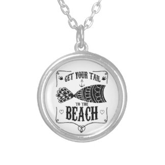 Get your tail to the beach silver plated necklace