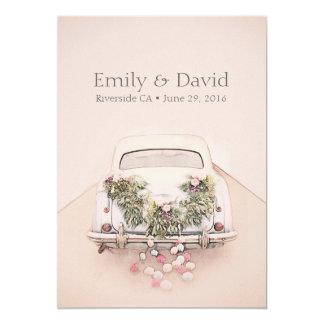 Getaway Car Wedding Romantic Blush Pink Invitation