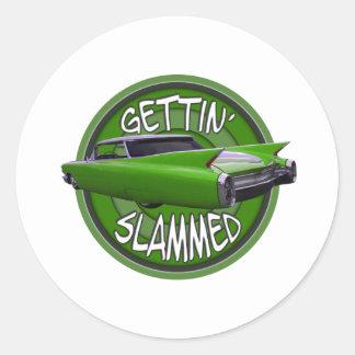gettin slammed1960 Cadillac key lime Round Sticker