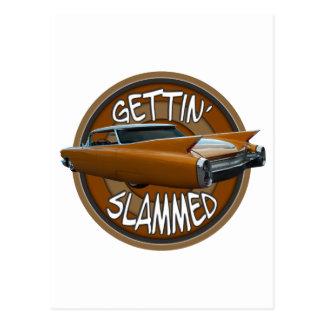 gettin slammed 1960 Cadillac golden pride Postcard