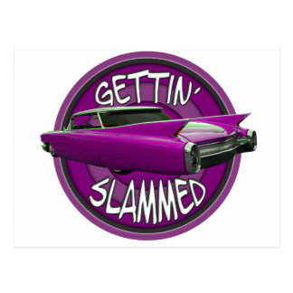 gettin slammed 1960 Cadillac pink Postcard