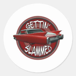 gettin slammed 1960 Cadillac Rollin red lowrider Round Sticker