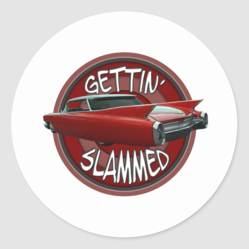 gettin slammed 1960 Cadillac Rollin red lowrider Round Stickers