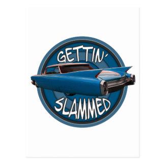 gettin slammed 1960 Cadillac sky blue Postcard
