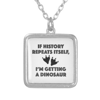 Getting A Dinosaur Silver Plated Necklace
