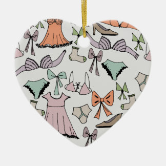getting dressed ceramic heart ornament